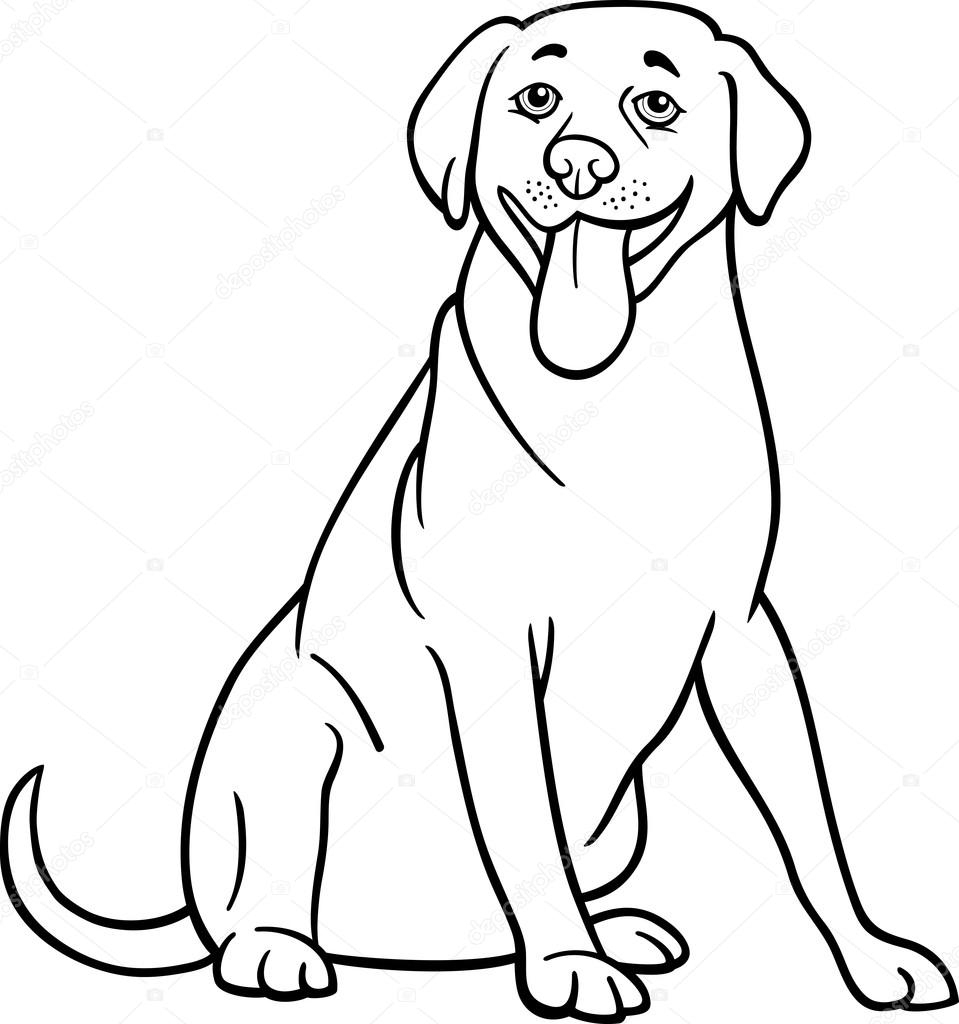 Labrador Retriever Dog Cartoon For Coloring — Stock Vector avec Coloriage Labrador