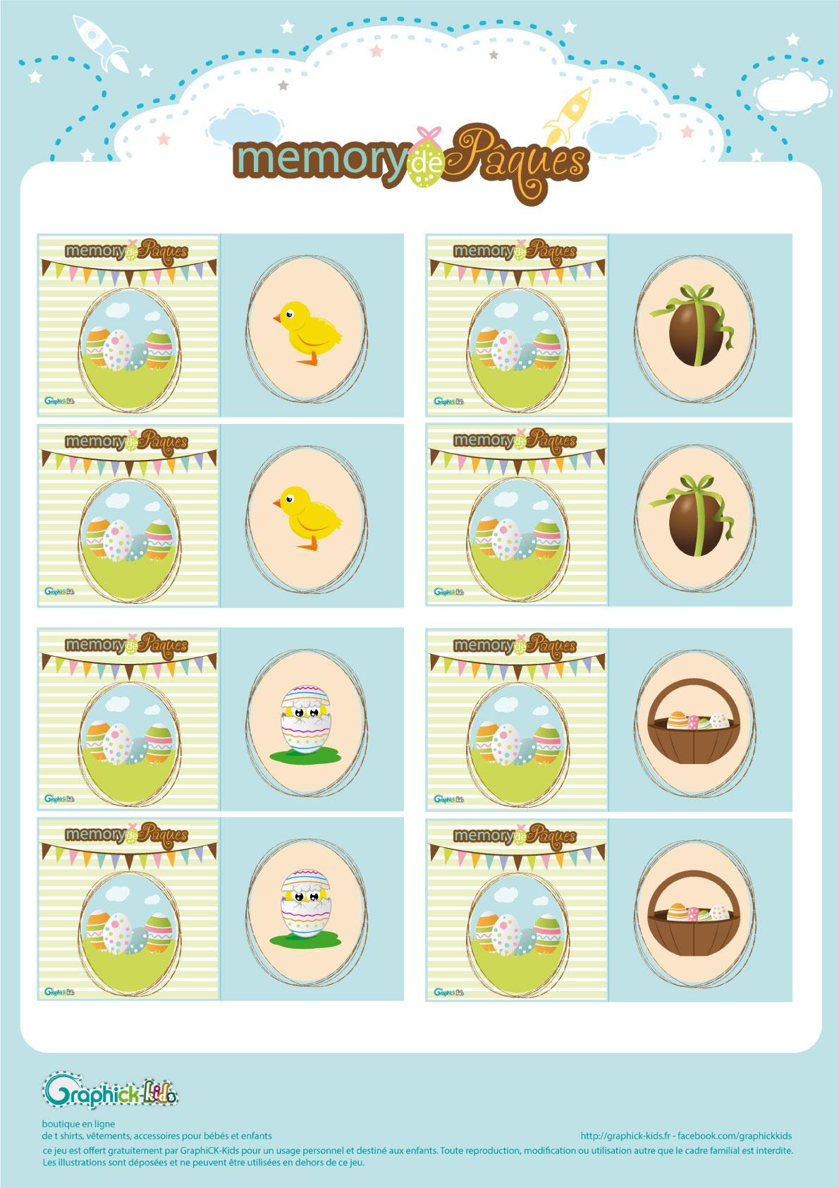 L'activité Du Mercredi : Le Memory De Pâques - Graphick-Kids encequiconcerne Jeu De Memoire Gratuit