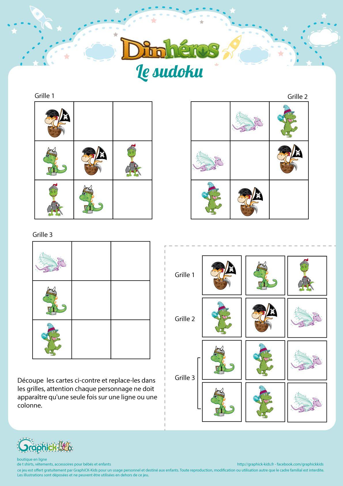 L'activité Du Mercredi : Le Sudoku Des Dinhéros | Jeux avec Jeux Enfant Gratuit En Ligne
