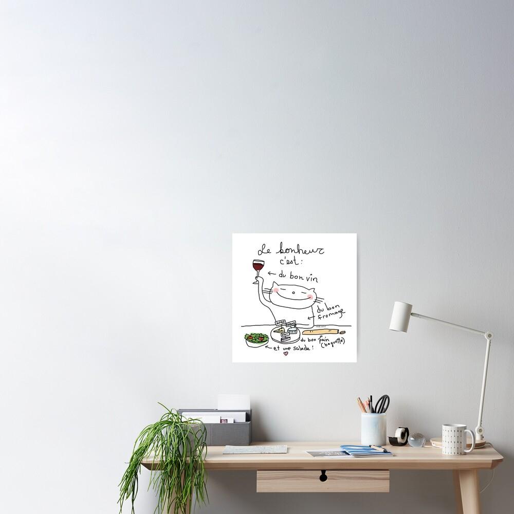 Le Bonheur C'est  / Ooh La La (Französische Kritzeleien) | Poster à Bon The Bonheur