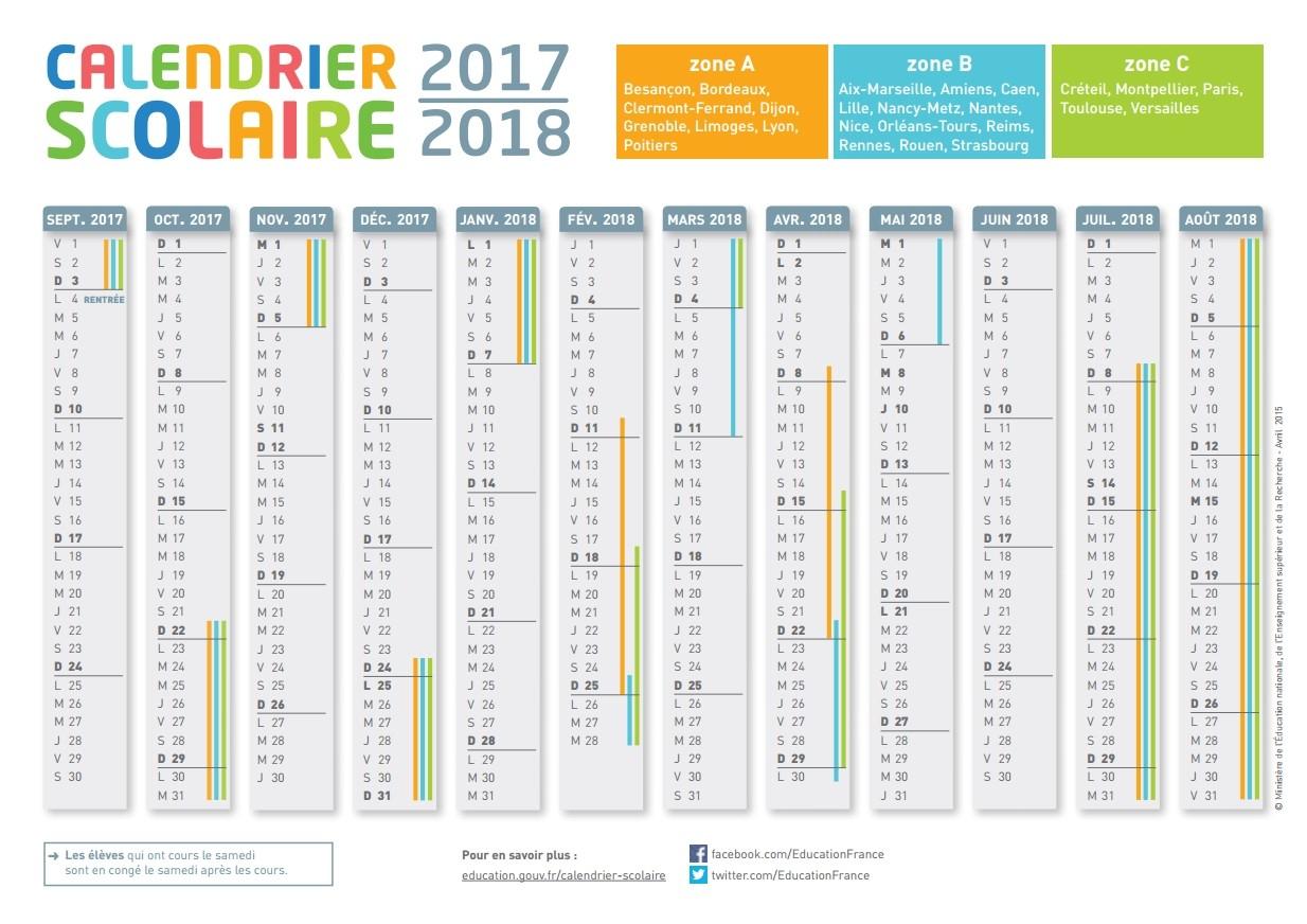 Le Calendrier Scolaire 2017-2018 À Imprimer - Bdm intérieur Calendrier 2019 Avec Jours Fériés Vacances Scolaires À Imprimer