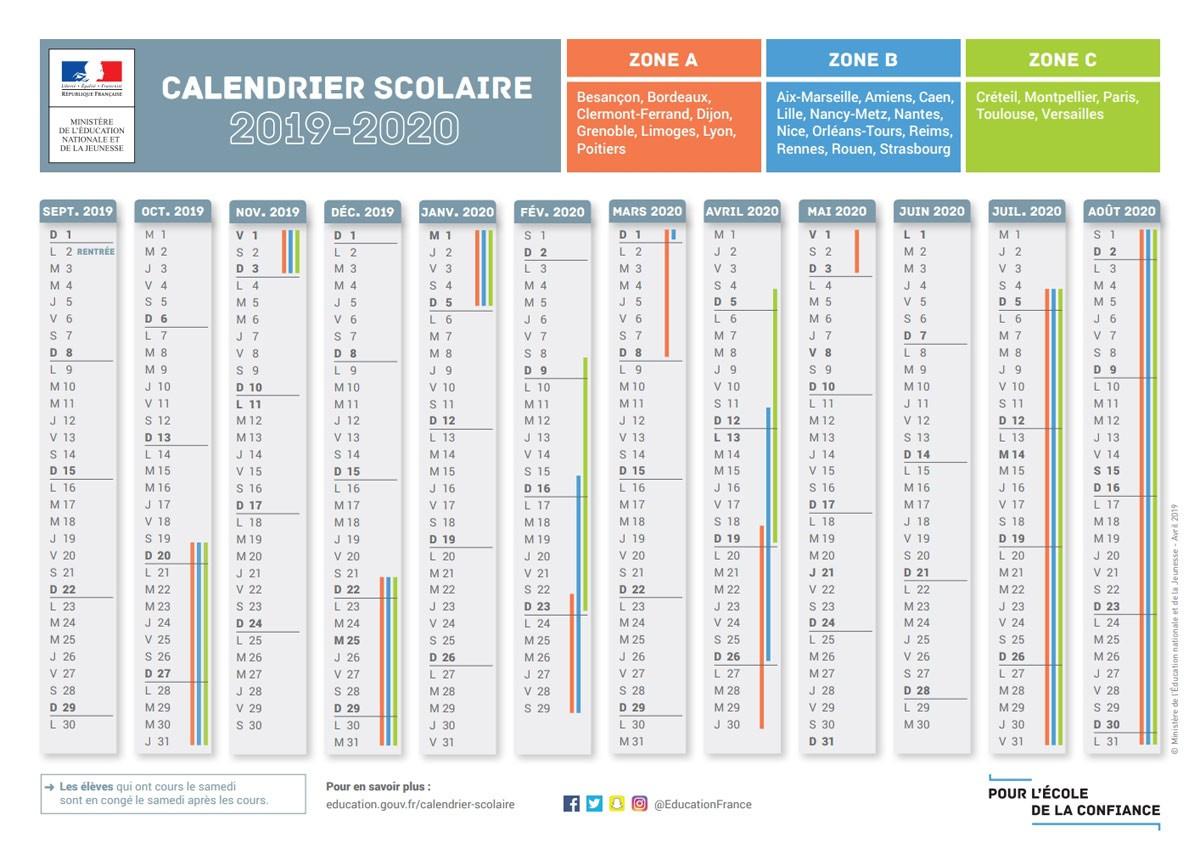 Le Calendrier Scolaire 2019-2020 Avec Les Dates Des Vacances serapportantà Calendrier 2019 Avec Jours Fériés Vacances Scolaires À Imprimer