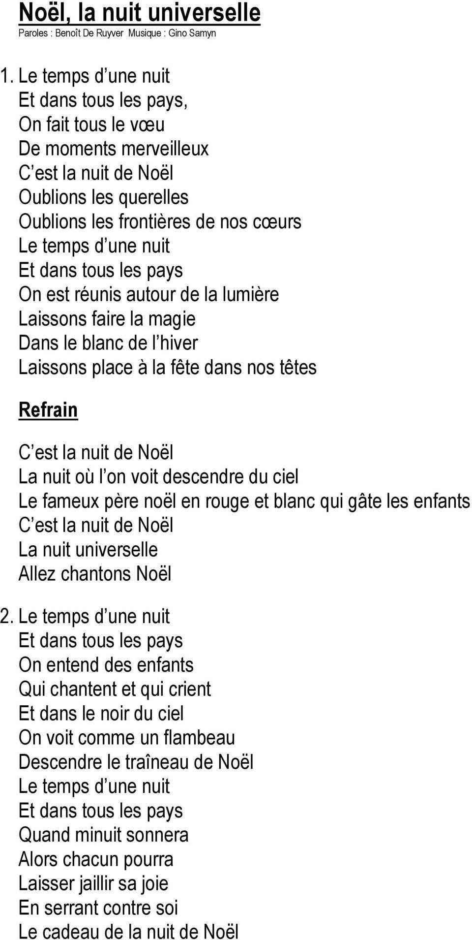 Le Facteur De Noël Paroles Et Musique : Benoît De Ruyver destiné Dans La Nuit De L Hiver Chanson