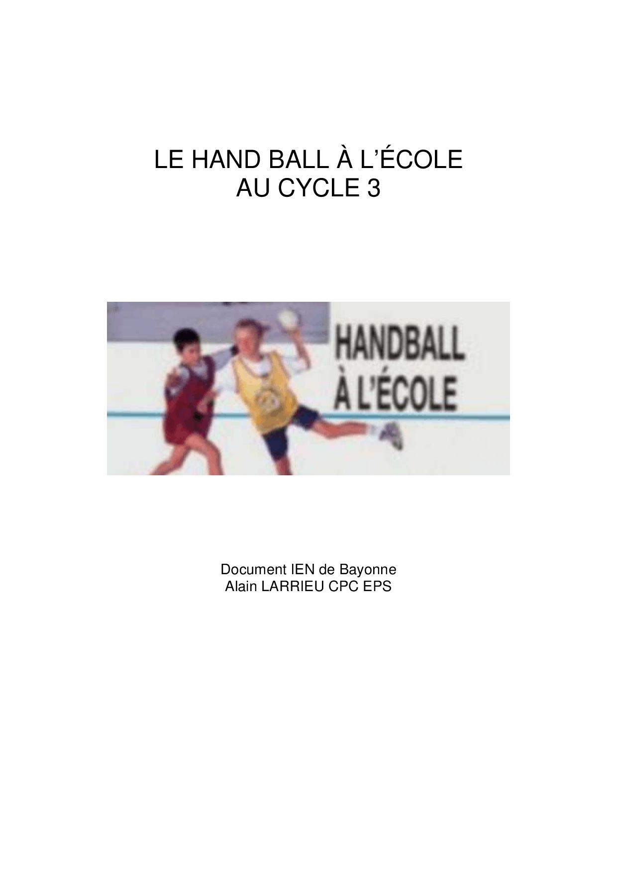 Le Hand Ball À L'école Au Cycle 3 - Docsity pour Jeux Collectifs Cycle 3 Sans Ballon