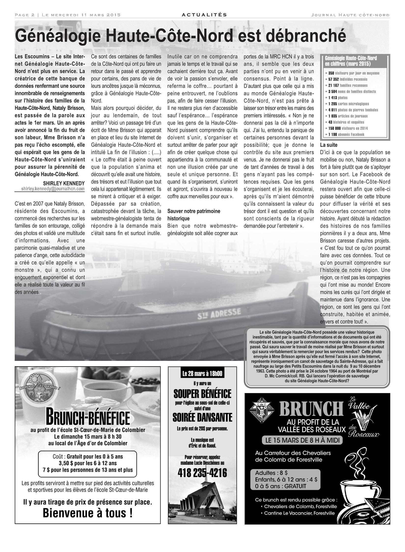Le Haute-Côte-Nord 11 Mars 2015 Pages 1 - 32 - Text Version avec Mars De Maurice Careme A Imprimer