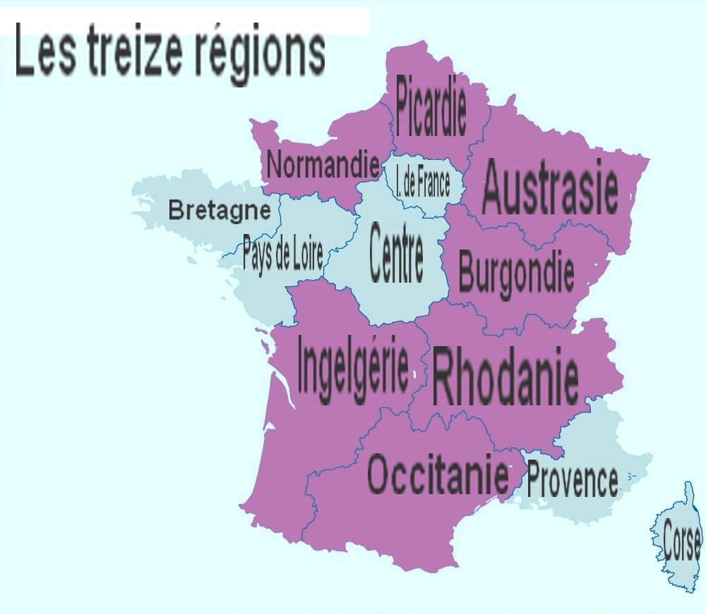 Le Nom Des Treize Régions Futures | Audresselles.at dedans Nouvelle Carte Des Régions De France