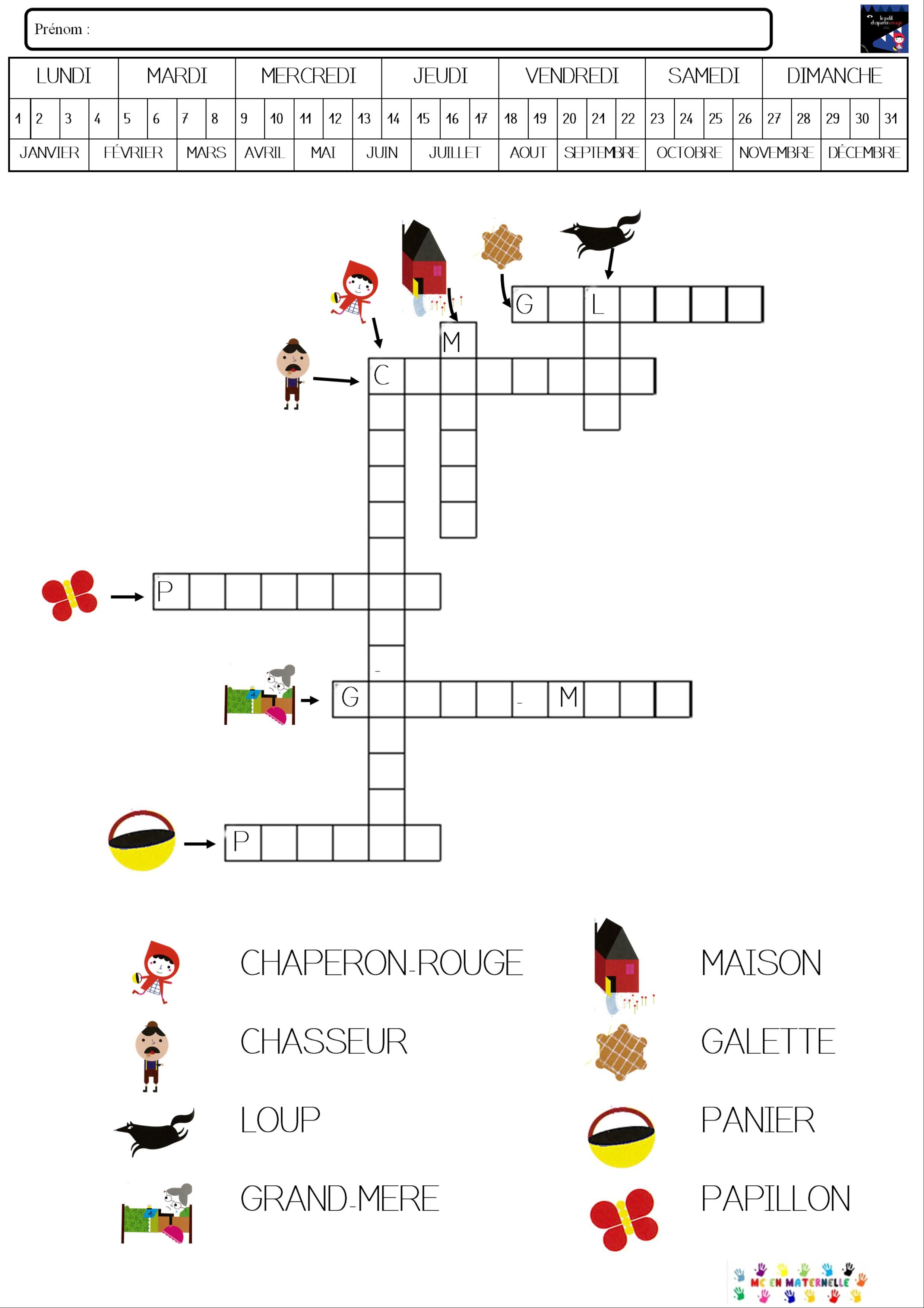 Le Petit Chaperon Rouge : Mots Fléchés – Mc En Maternelle encequiconcerne Mots Croisés Noel