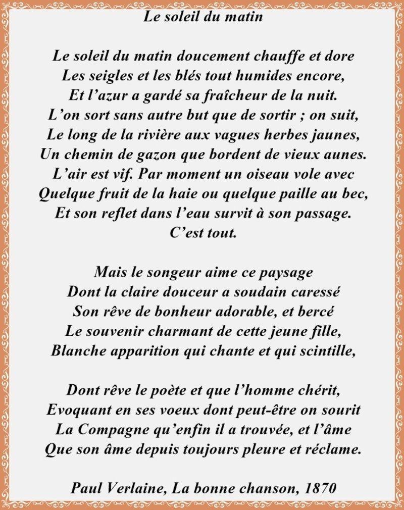 """Le Soleil Du Matin -Paul Verlaine-."""" intérieur Poeme Voeux Nouvel An"""