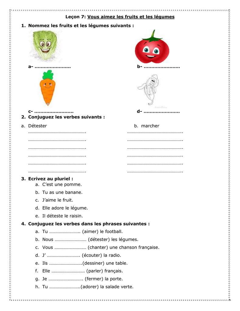 Leçon 7: Vous Aimez Les Fruits Et Les Légumes Nommez Les avec Chanson Sur Les Fruits Et Légumes