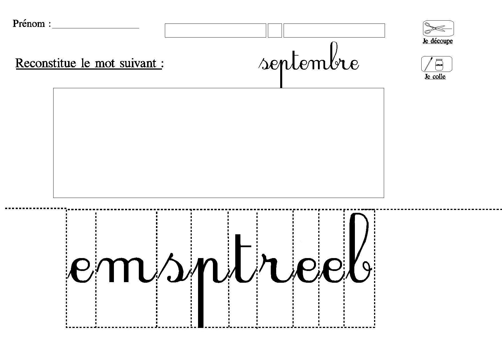 Lecture Decouper Et Coller Les Lettres Du Mois Septembre pour Découpage Collage Maternelle À Imprimer