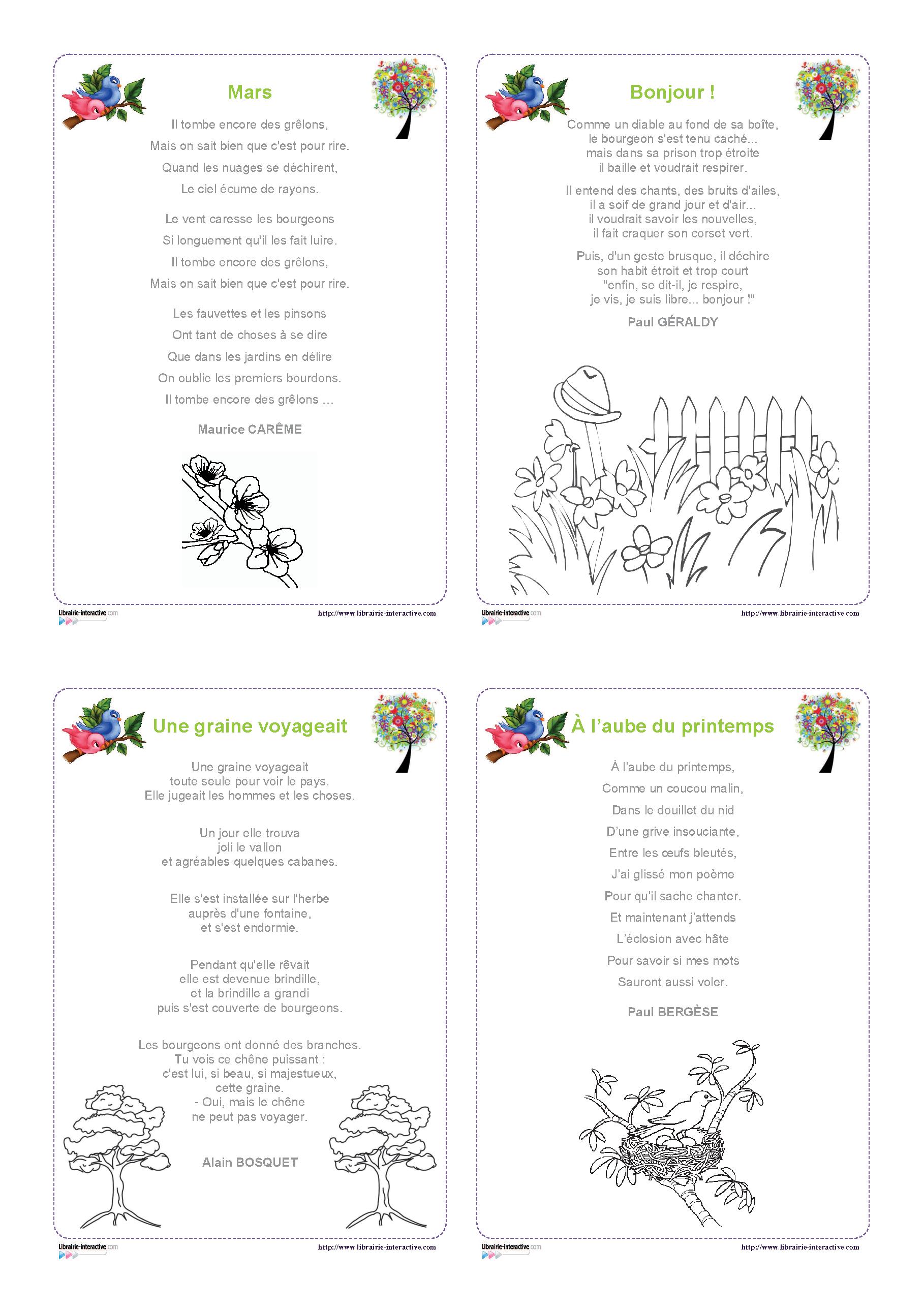 Les 34 Meilleures Images De Poésie | Chansons Comptines destiné Mars De Maurice Careme A Imprimer