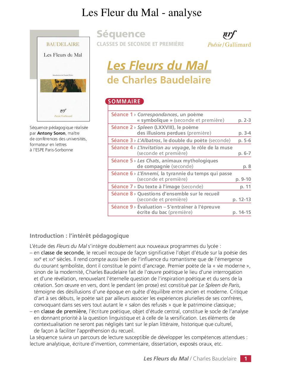 Les Fleur Du Mal - Analyse - Docsity à Poeme Les Fleurs