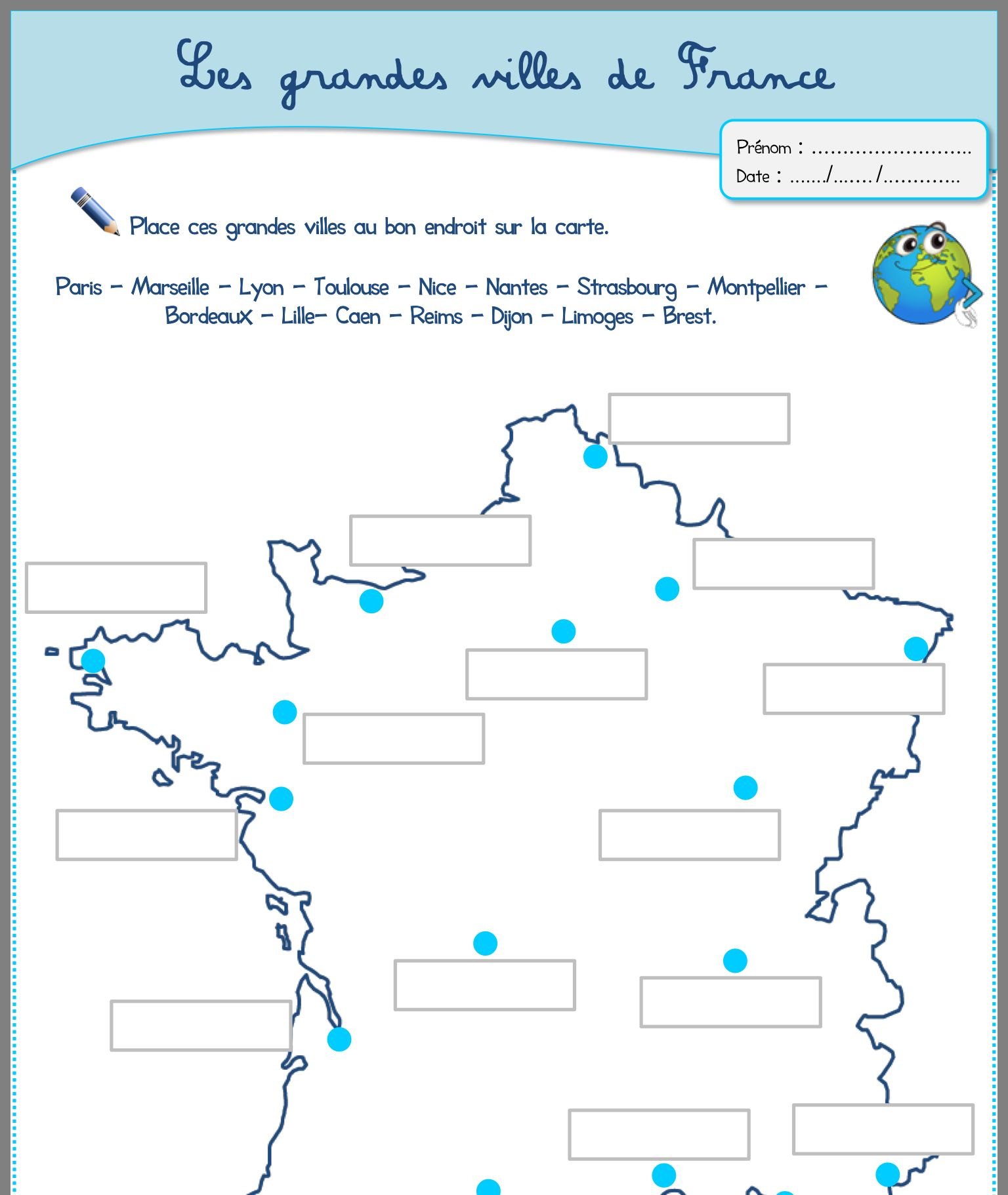 Les Grandes Villes En France | Ville France, Géographie destiné Carte De France Pour Les Enfants