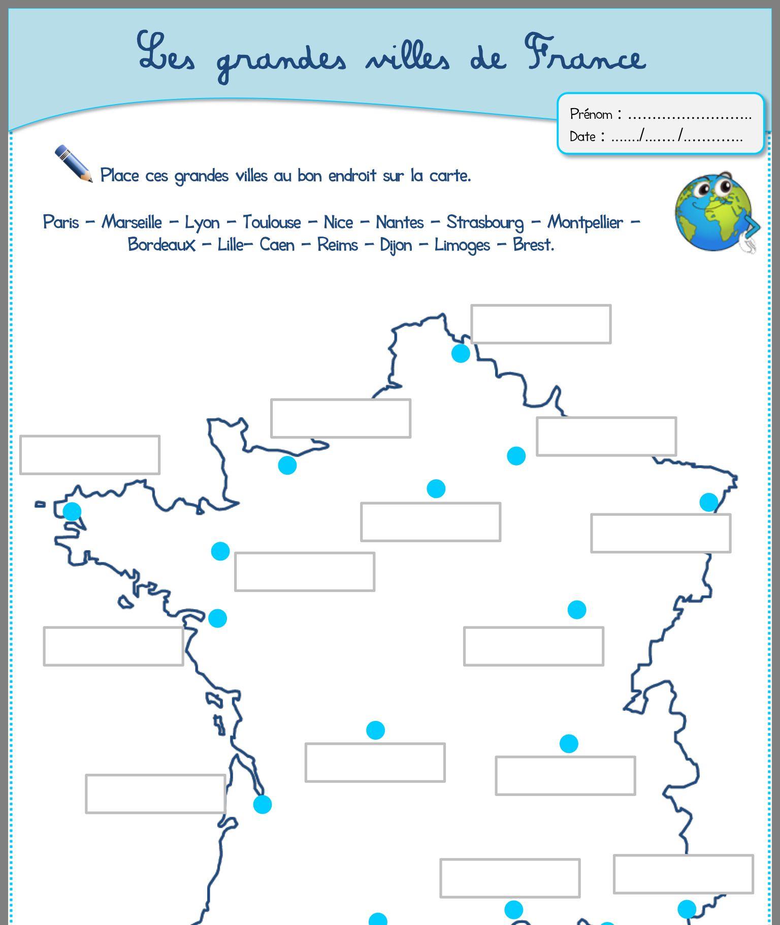 Les Grandes Villes En France | Ville France, Géographie encequiconcerne Frise Chronologique Vierge Ce1
