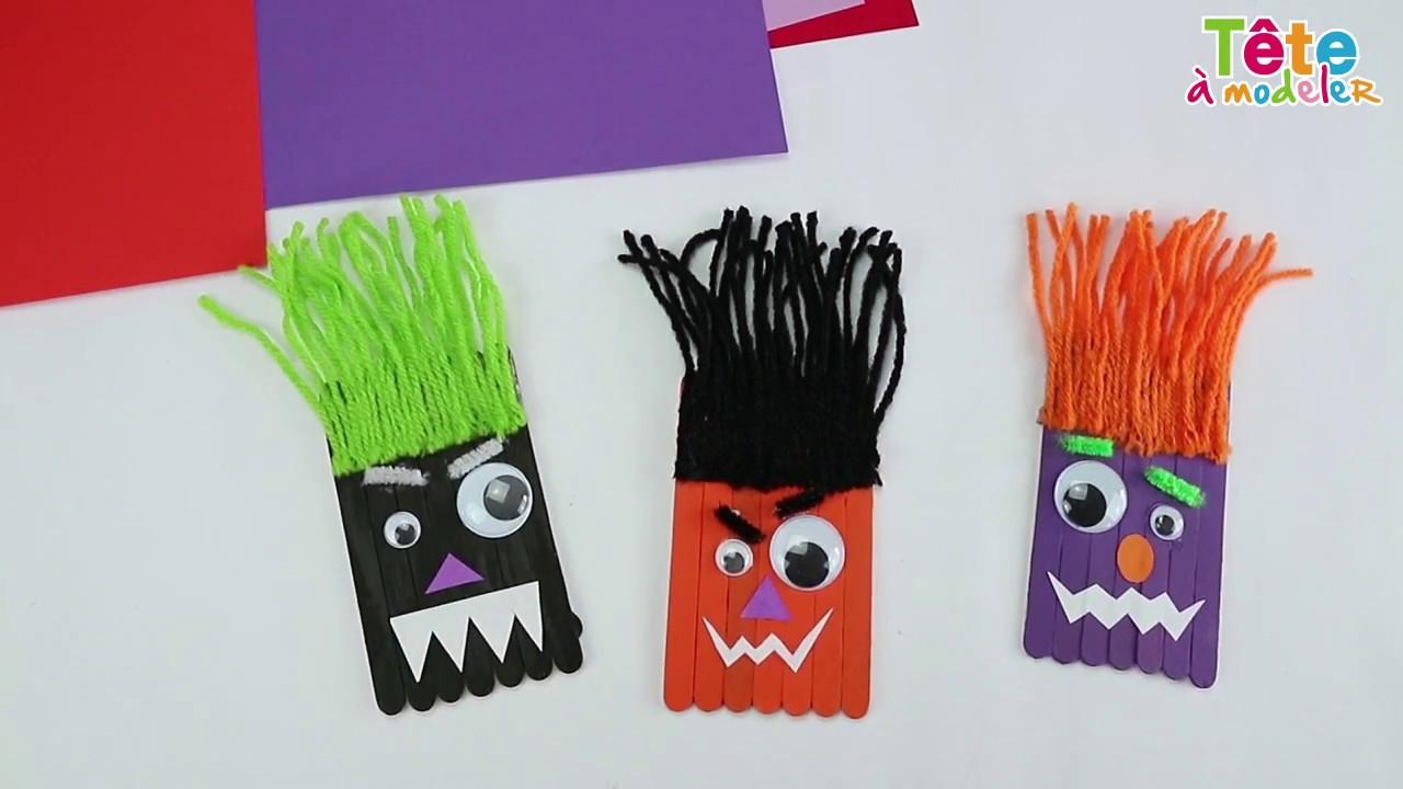 Les Monstres D'halloween En Bâtons De Glace serapportantà Bricolage Avec Baton De Bois