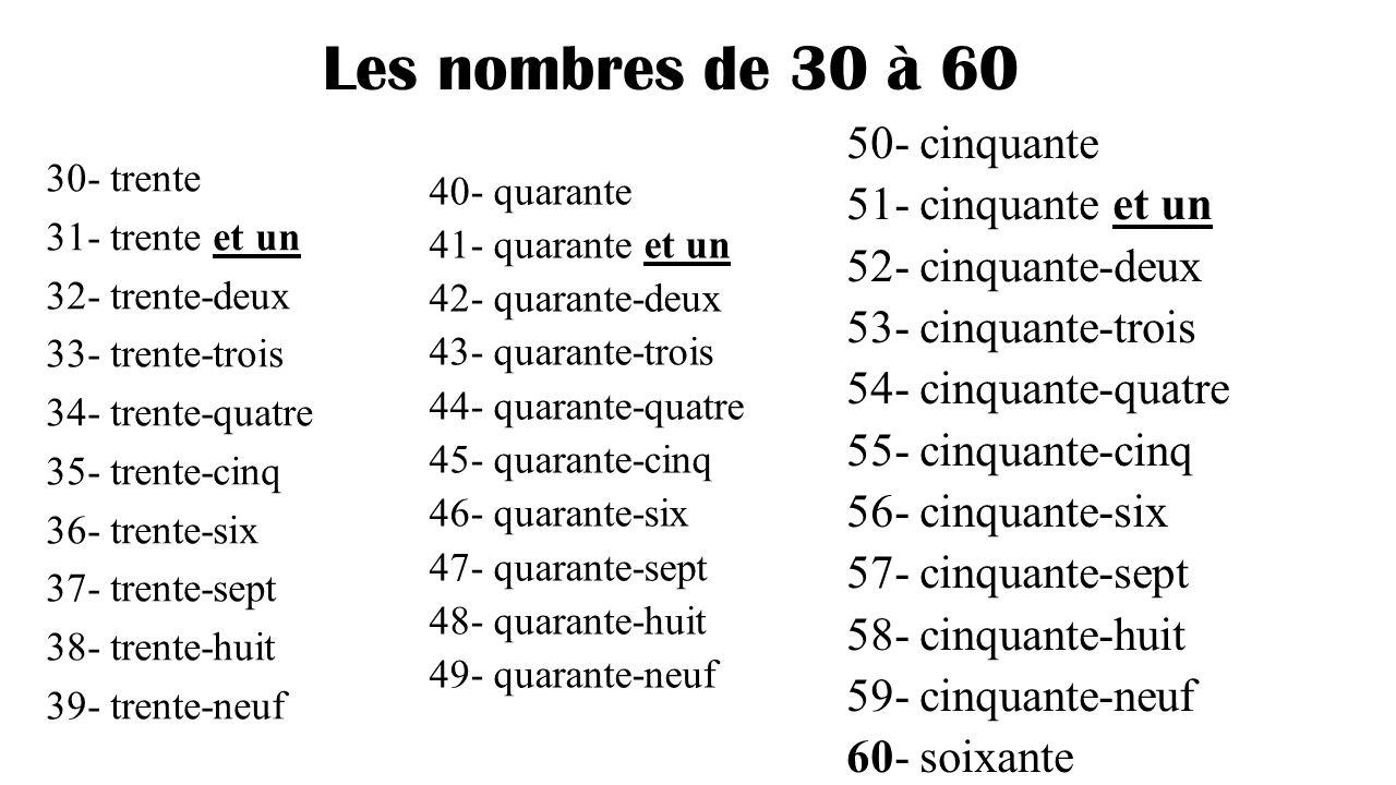 Les Nombres 30 60 - Lessons - Tes Teach destiné Chanson Des Chiffres En Français