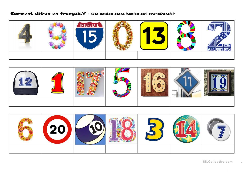 Les Nombres De 0 À 20 - Français Fle Fiches Pedagogiques à Les Nombres De 0 À 20