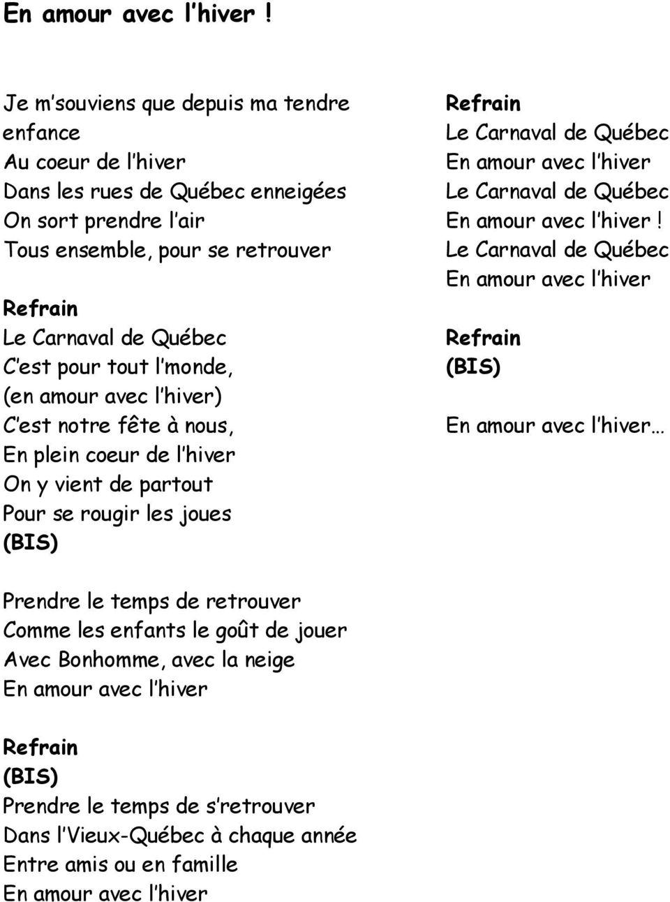 Les Paroles Des Chansons Du Carnaval De Québec - Pdf Free encequiconcerne Dans La Nuit De L Hiver Chanson