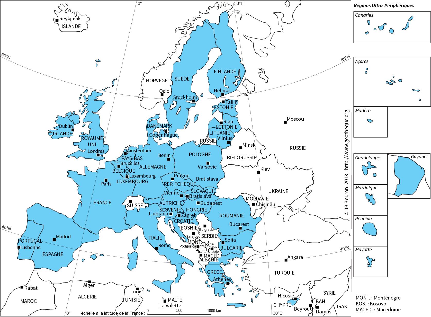 Les Pays De L'union Avec Leur Capitale concernant Carte Europe Avec Capitales