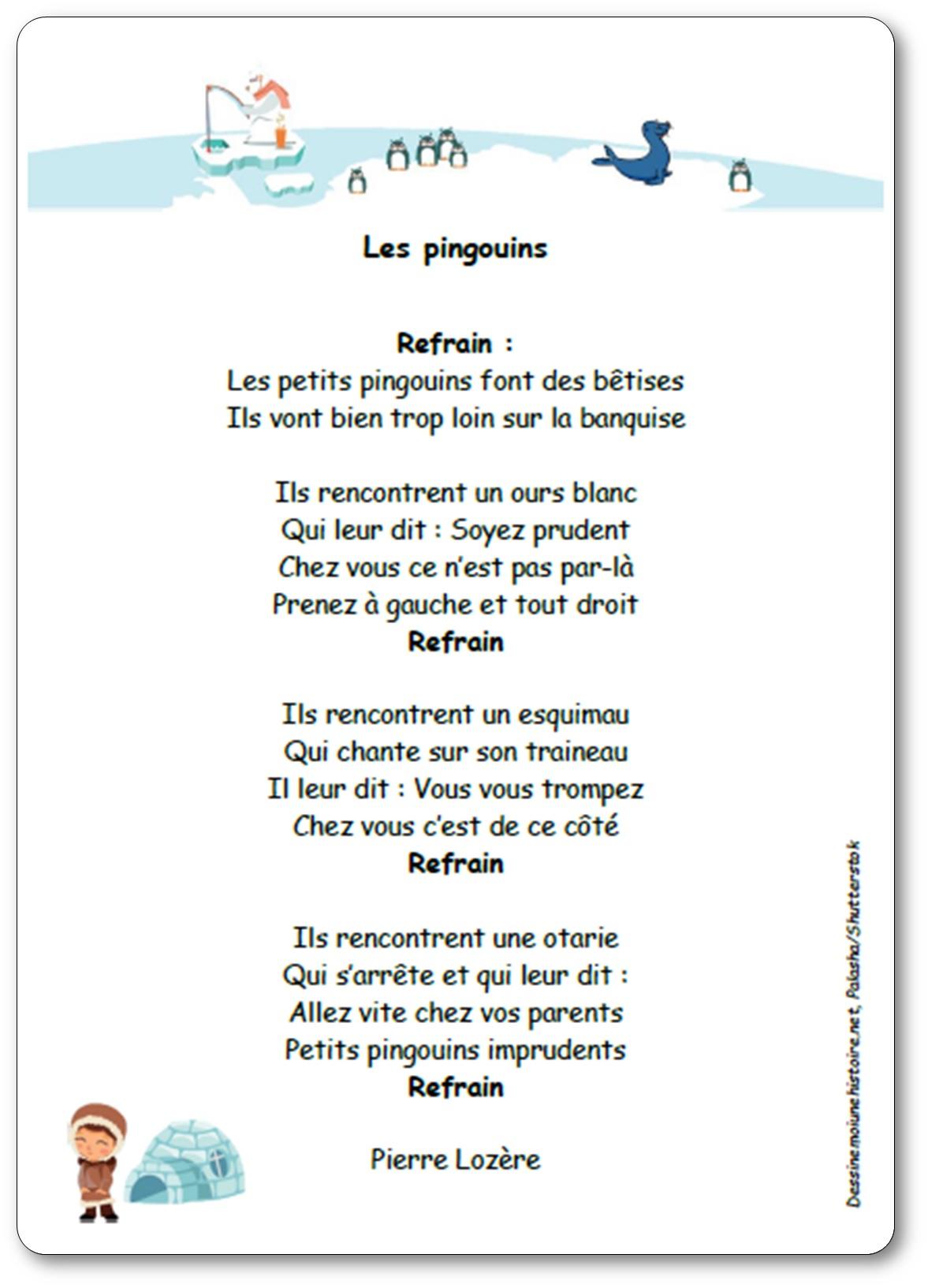 Les Pingouins (Font Des Bêtises) De Pierre Lozère - Chanson à Chanson A Imprimer