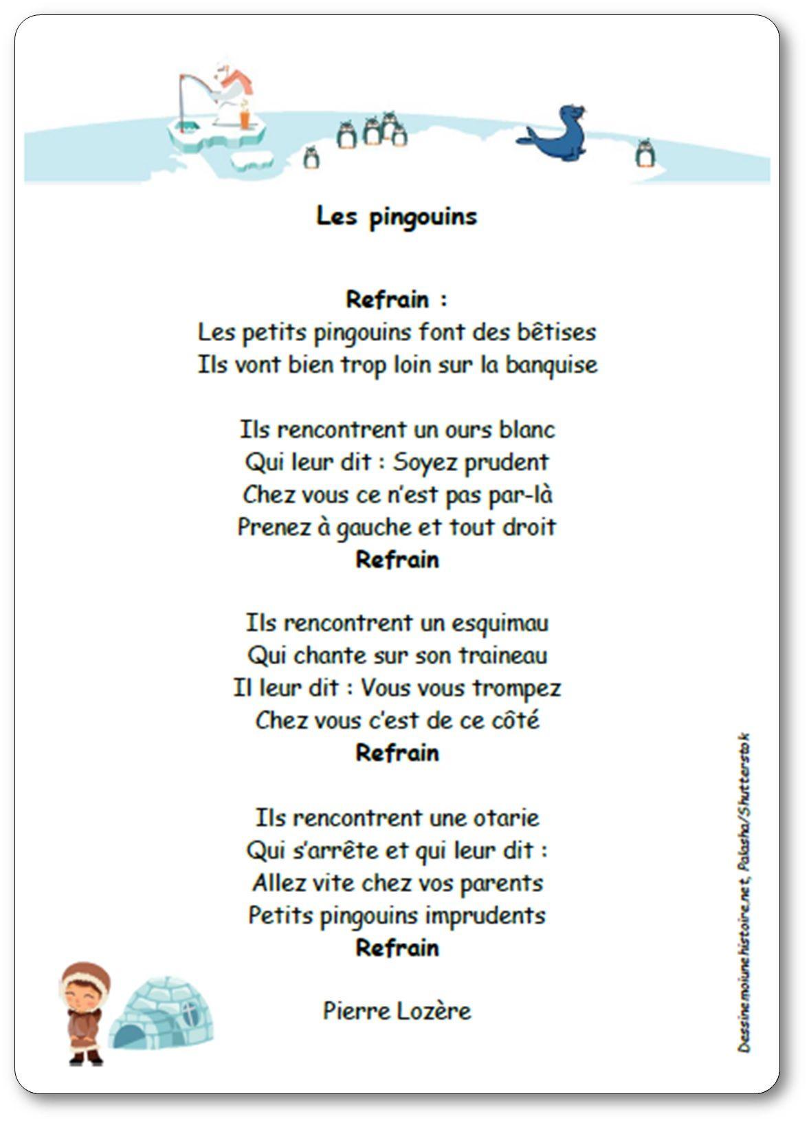 Les Pingouins (Font Des Bêtises) De Pierre Lozère - Chanson à Dans La Nuit De L Hiver Chanson