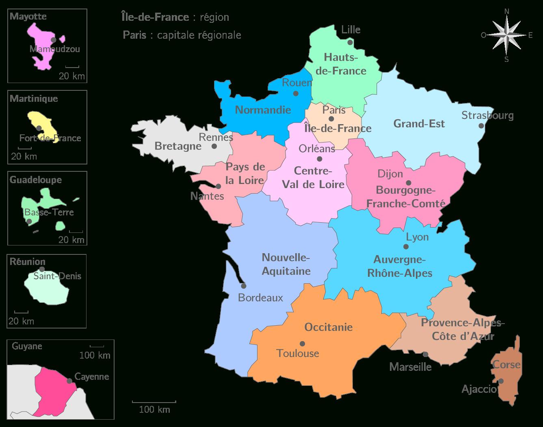 Les Régions Françaises Et Leurs Capitales - 3E - Carte dedans Carte Europe Avec Capitales