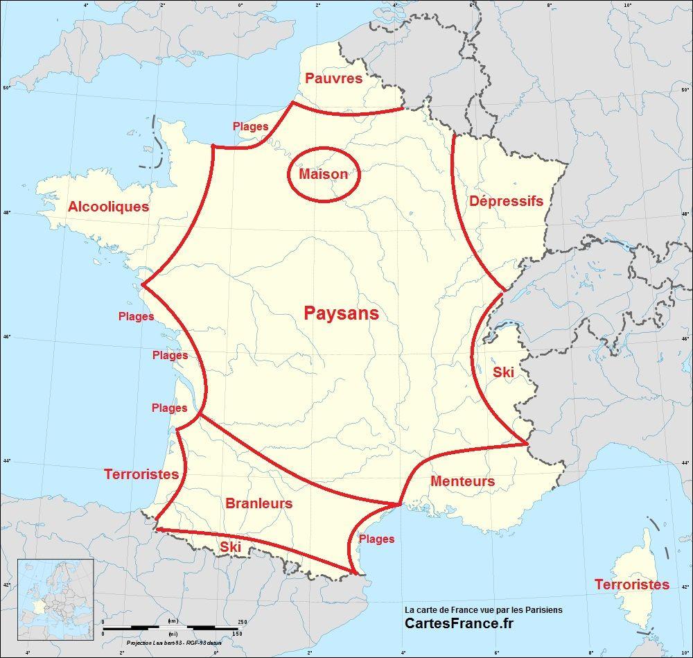 Les Régions Françaises Selon Les Parisiens, Toulousains Ou dedans Carte De France Pour Les Enfants