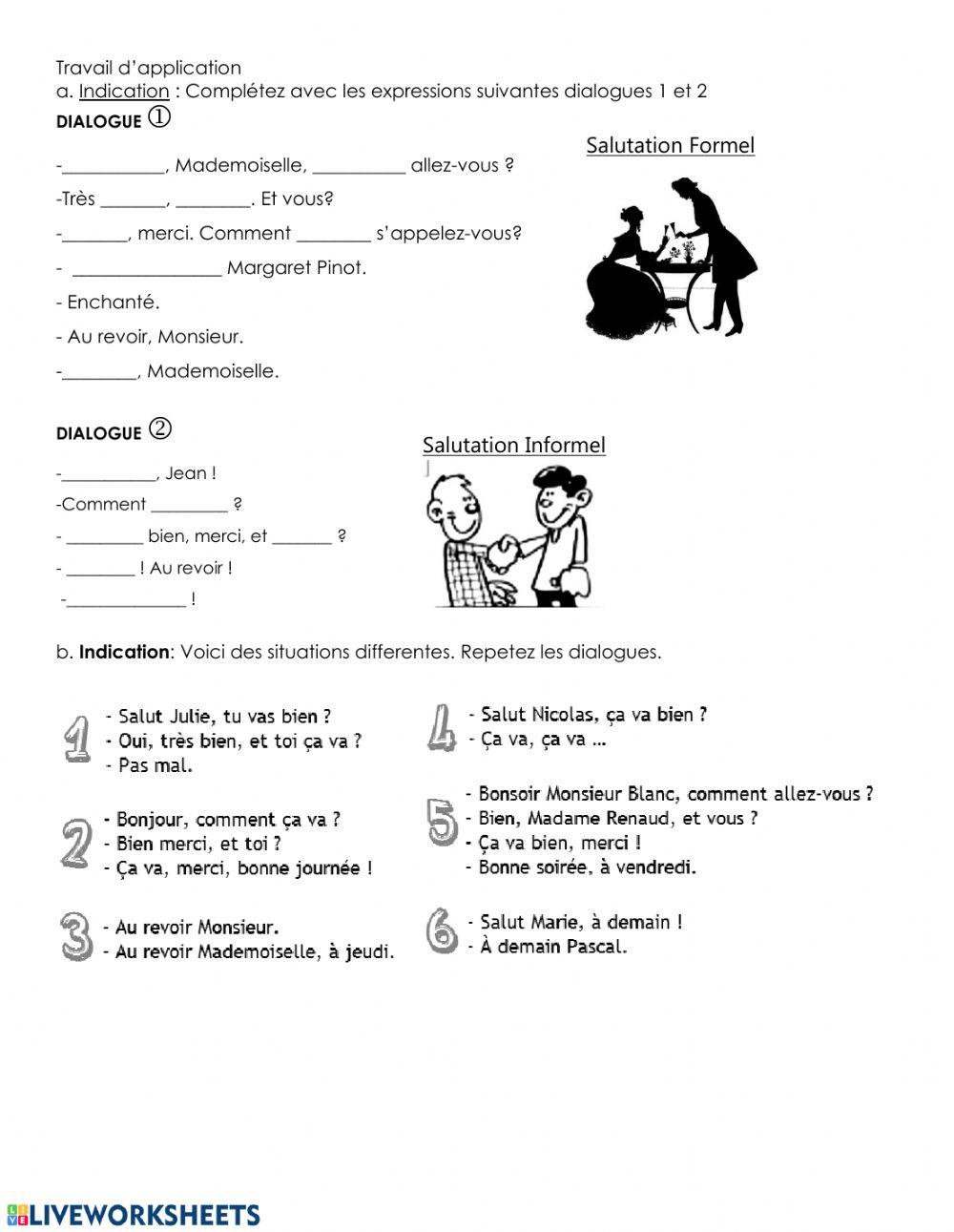 Les Salutations Interactive Worksheet concernant Bonjour Monsieur Comment Ca Va