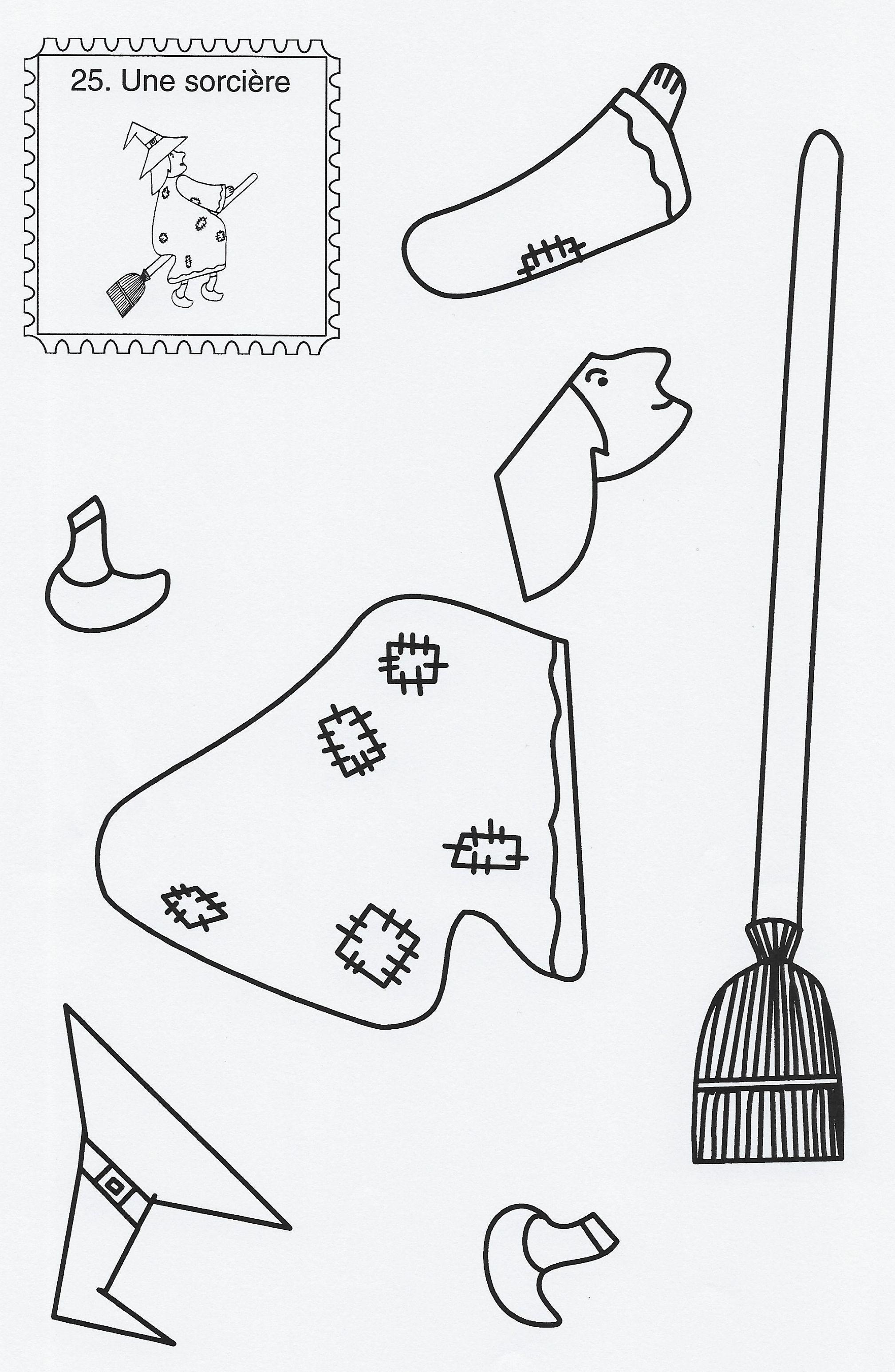 Les Sorcières Et Les Citrouilles | Bricolage Halloween avec Découpage Collage Maternelle À Imprimer