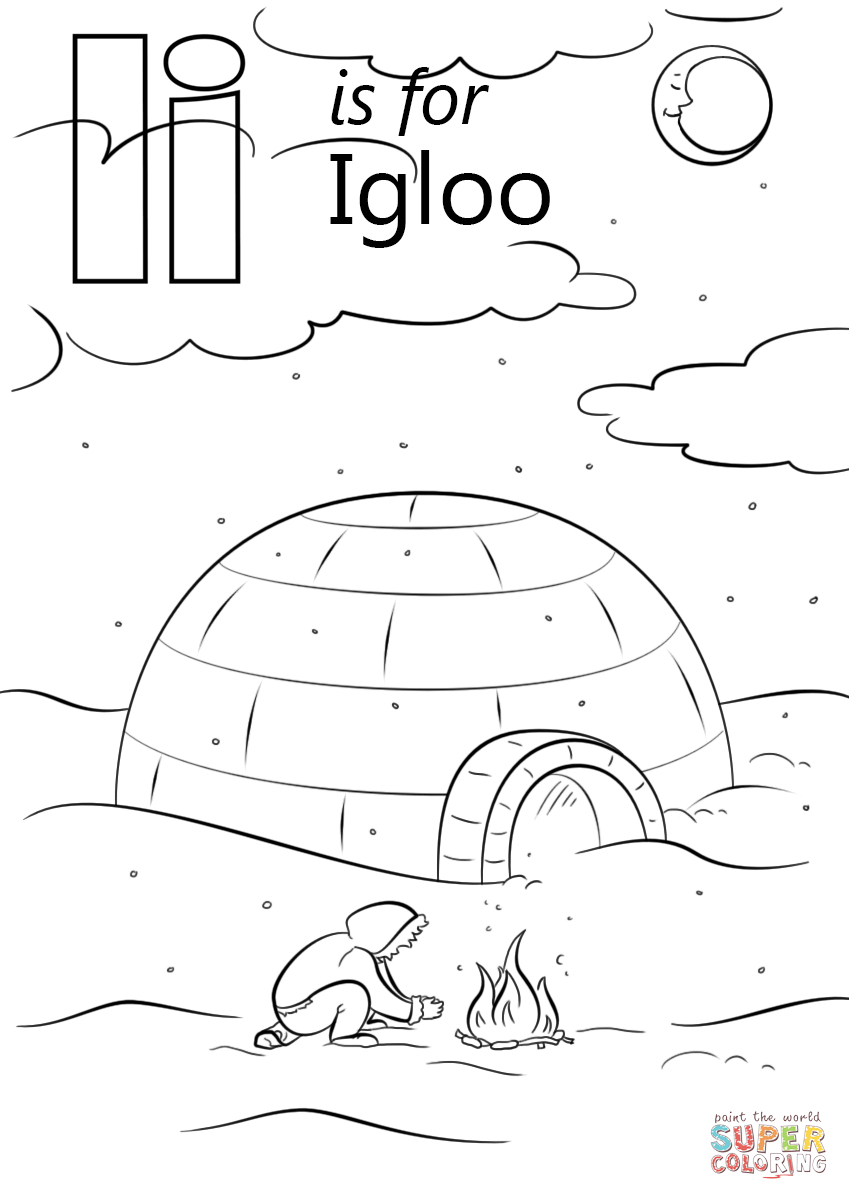 Letter I Is For Igloo Coloring Page From Letter I Category tout Coloriage Igloo