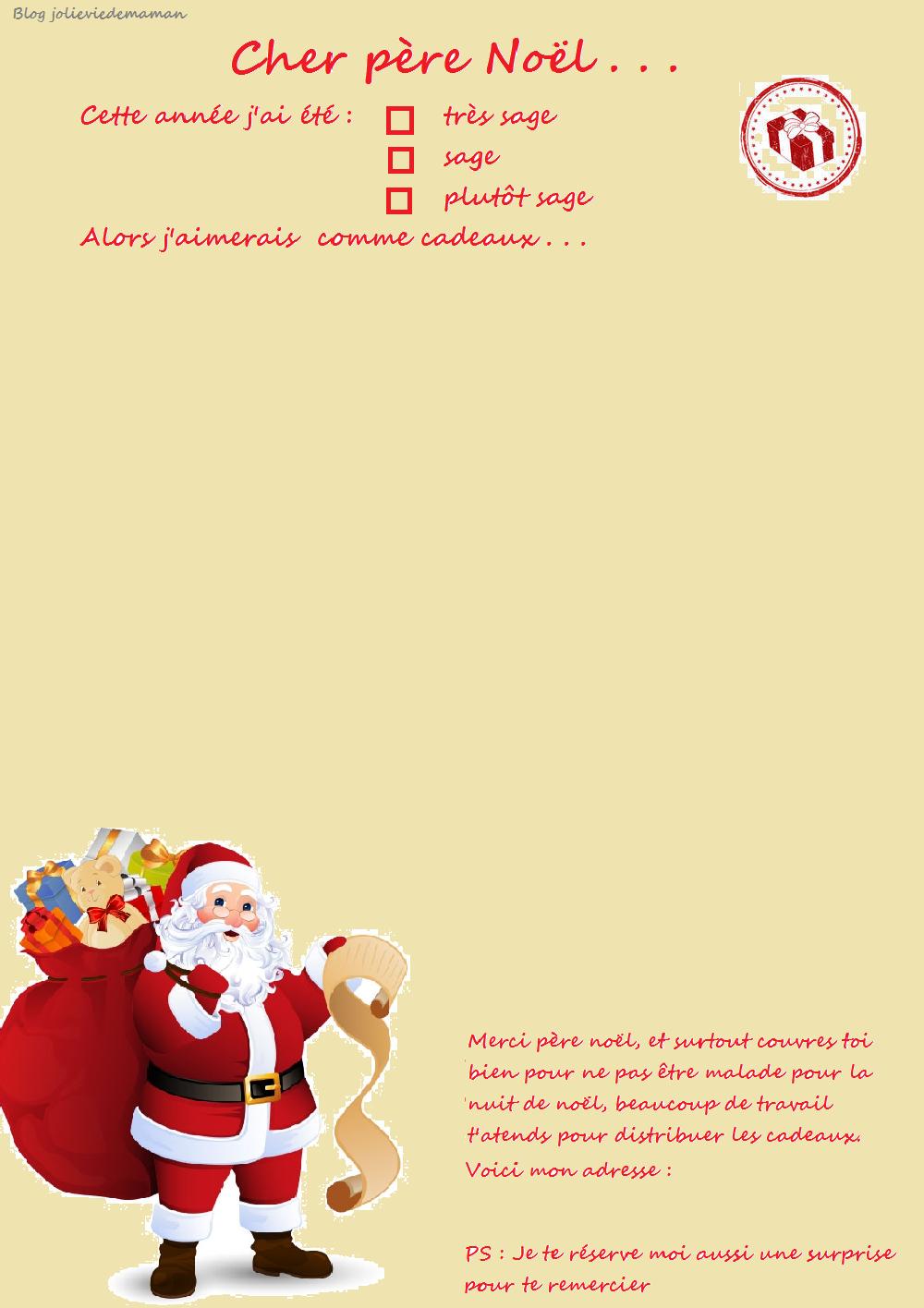 Lettre Au Père Noël À Imprimer - Ma Jolie Vie De Maman destiné Liste Pere Noel Imprimer