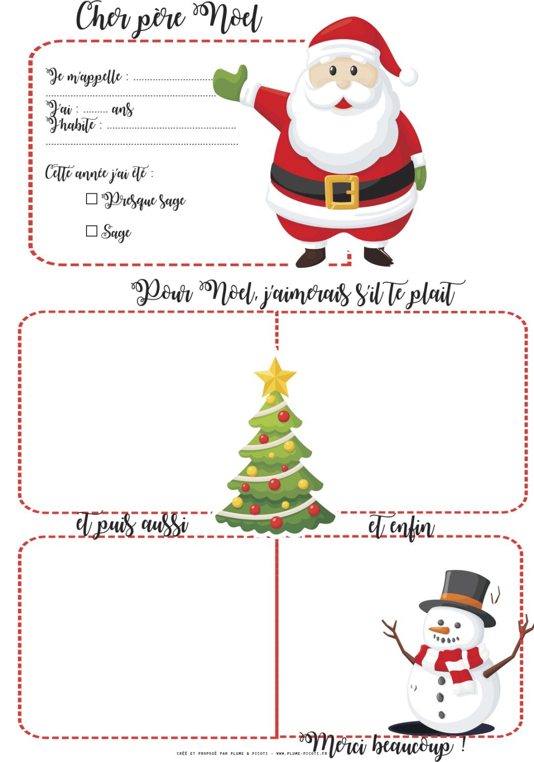 Lettre Au Père Noël À Imprimer | Pere Noel A Imprimer concernant Liste Pere Noel Imprimer