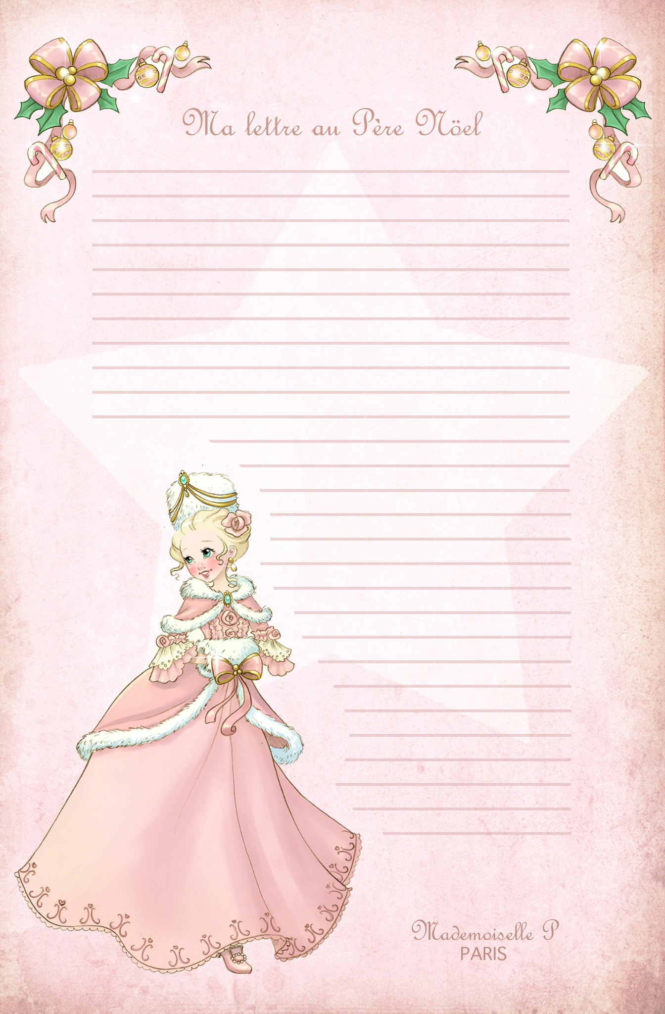 Lettre Au Père Noël À Télécharger - Mademoiselle P . Paris concernant Liste Pere Noel Imprimer