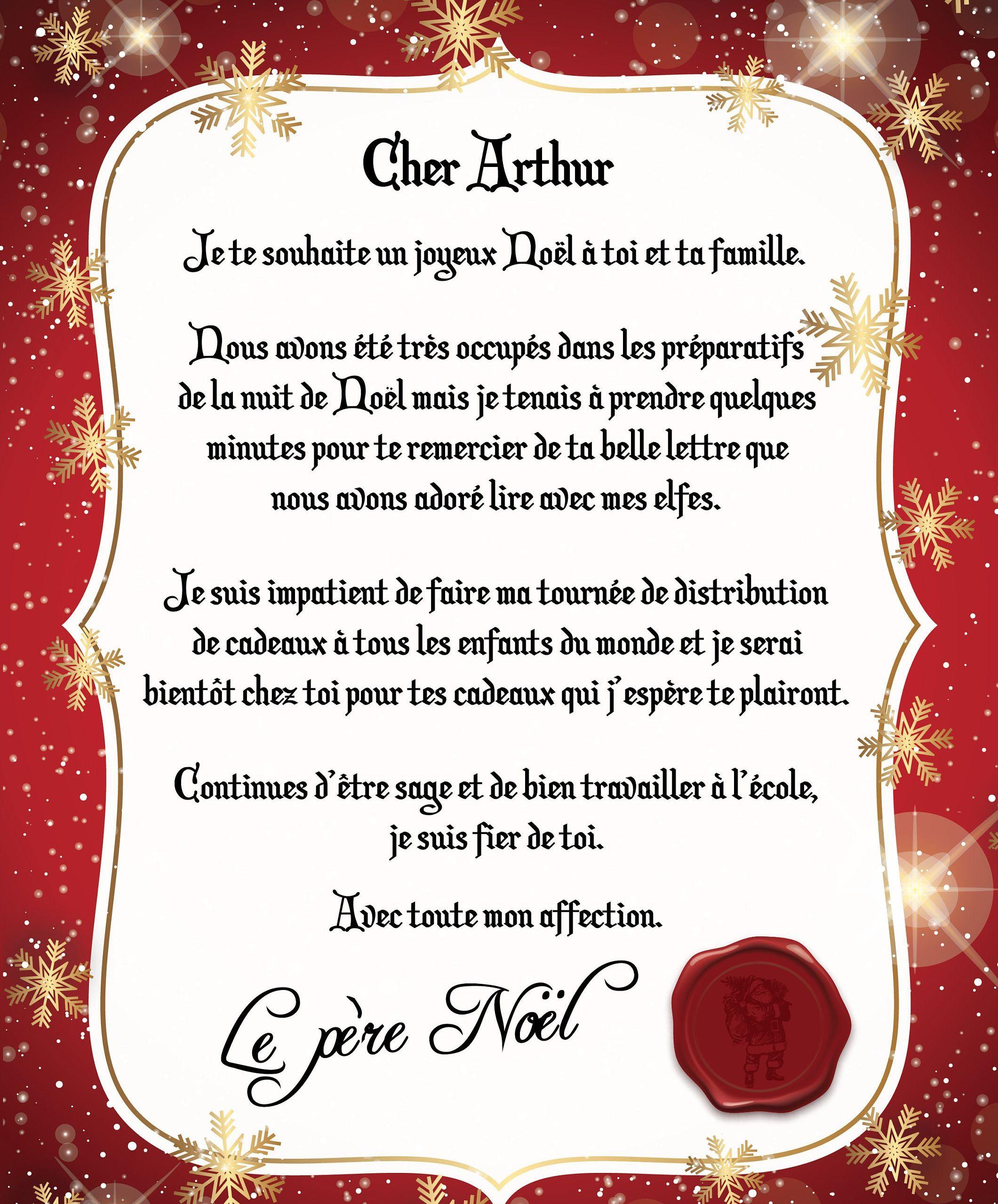 Lettre Au Père Noël - Cadeau Noel Enfants - Cadeau Noël tout Reponse Lettre Du Pere Noel A Imprimer