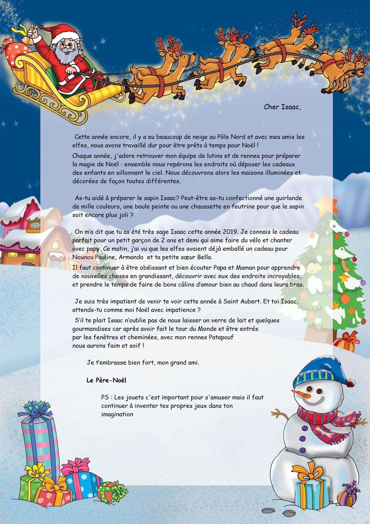 Lettre Du Père Noël Personnalisée pour Chanson De Noel Ecrite