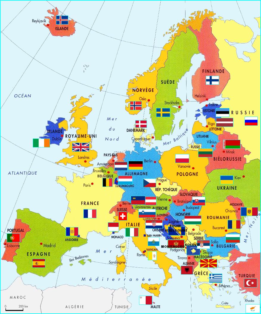 L'europe concernant Carte Europe Avec Capitales