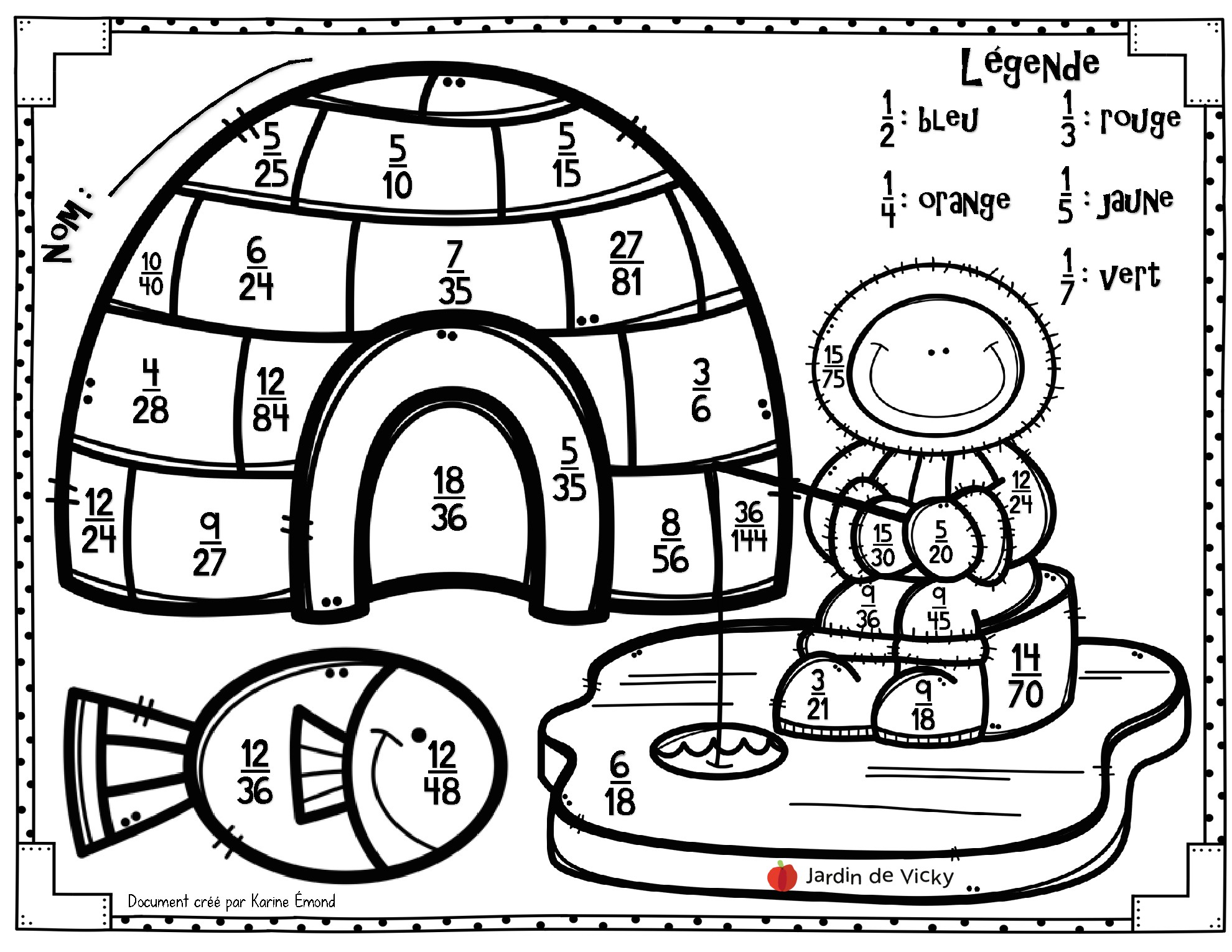 L'igloo Des Fractions Irréductibles | Jardin De Vicky tout Coloriage Igloo