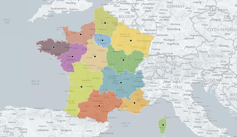 L'ign A Trouvé Le Centre Géographique Des 13 Nouvelles Régions encequiconcerne Nouvelle Carte Des Régions De France