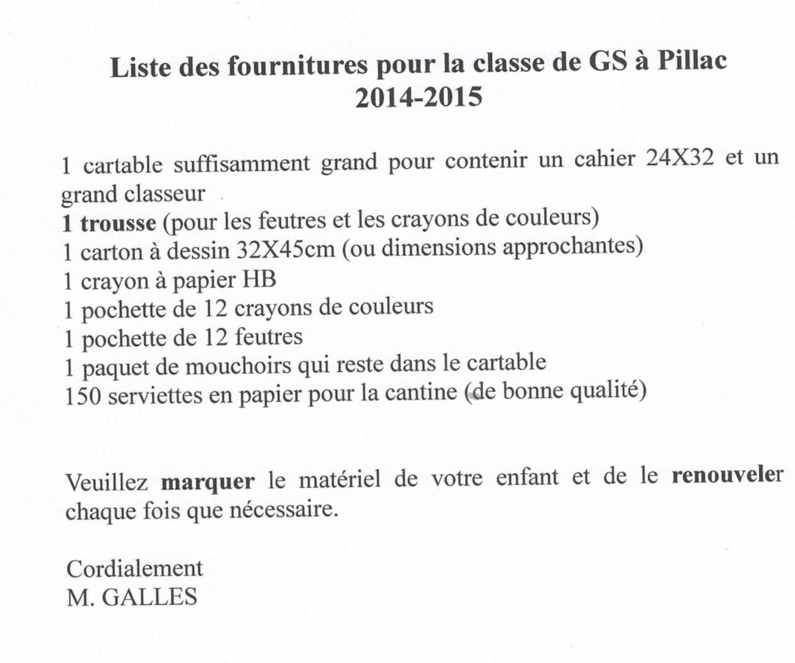 Liste Des Fournitures -Classes De Grande Section Et Cp À dedans Rentrée En Grande Section