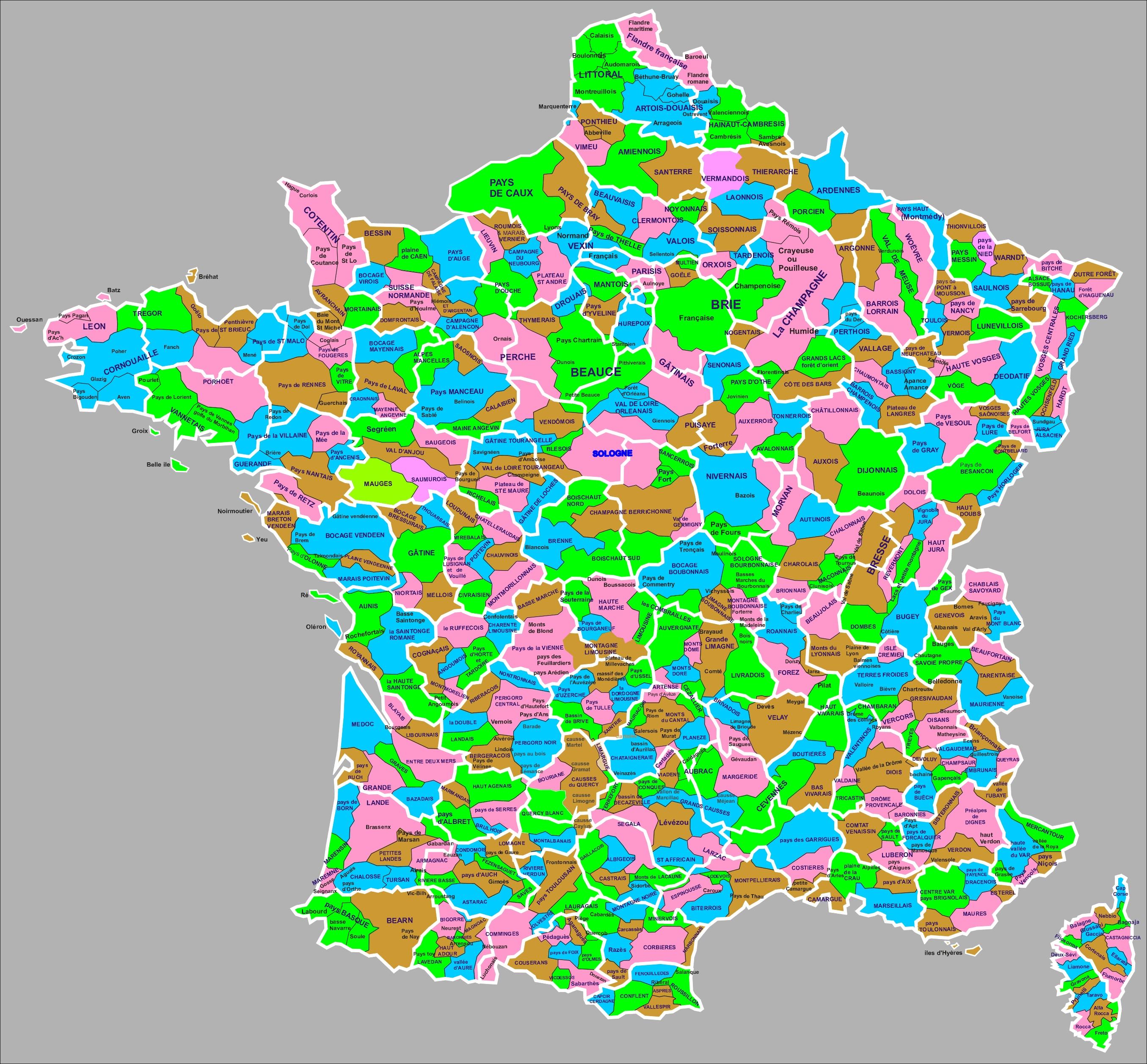 Liste Des Régions Naturelles De France — Wikipédia serapportantà Carte De France Avec Département À Imprimer