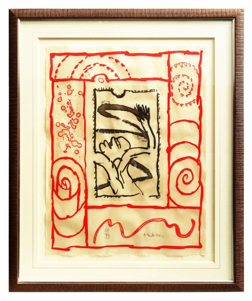 Lithographie De Pierre Alechinsky, A Bras Le Corps Sur Amorosart à Oeuvre Alechinsky