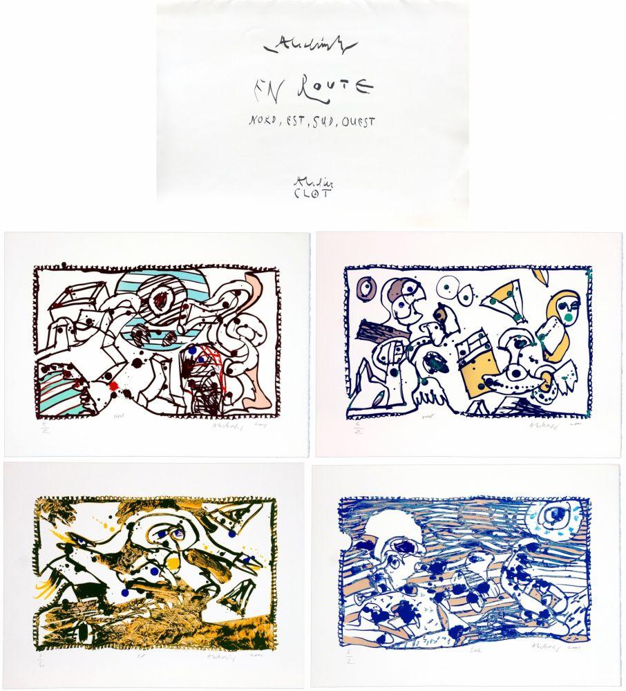 Lithographie De Pierre Alechinsky, En Route Sur Amorosart concernant Oeuvre Alechinsky