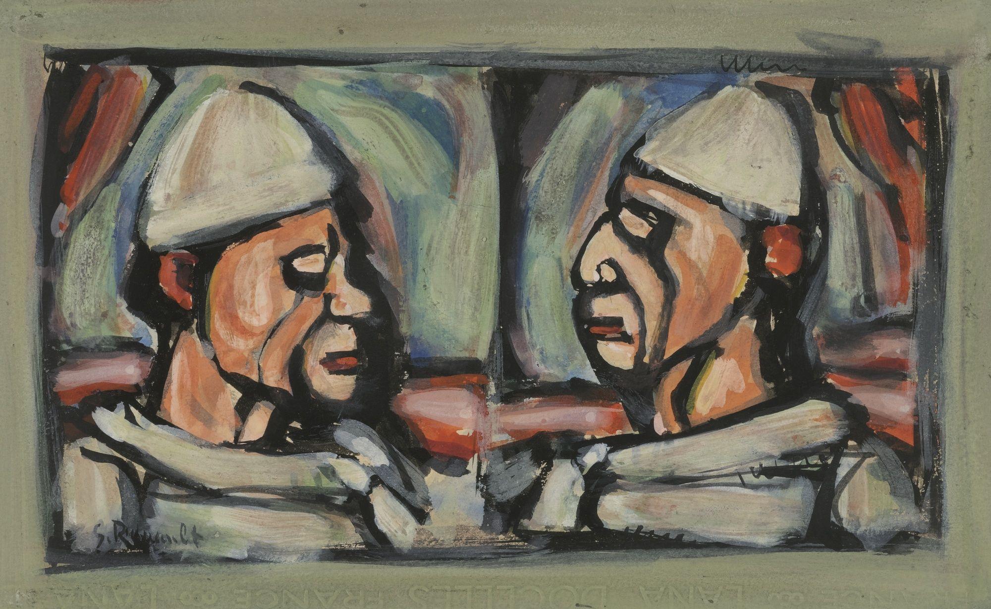 Lot | Sotheby's Georges Rouault 1871 - 1958 Deux Clowns En intérieur Etoil Clown