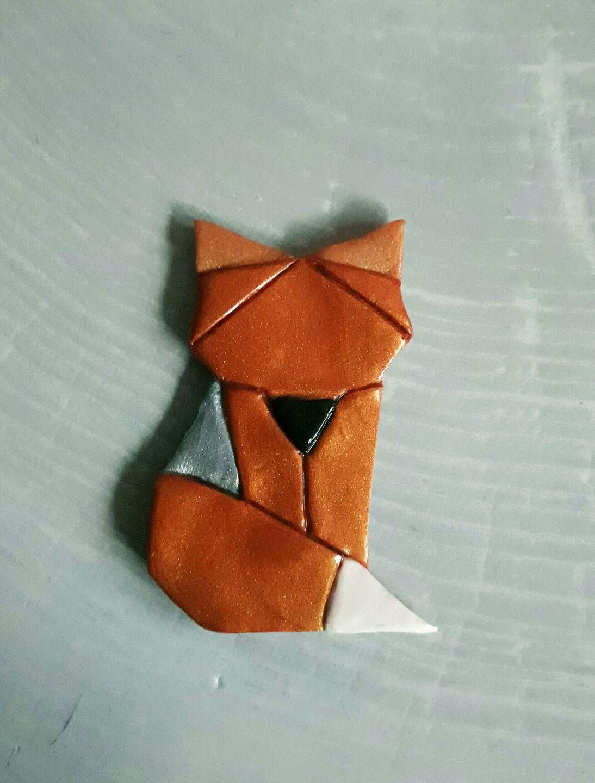 Magnet Ou Broche Renard Origami En Fimo : Broche Par Idees tout Origami Bonhomme De Neige