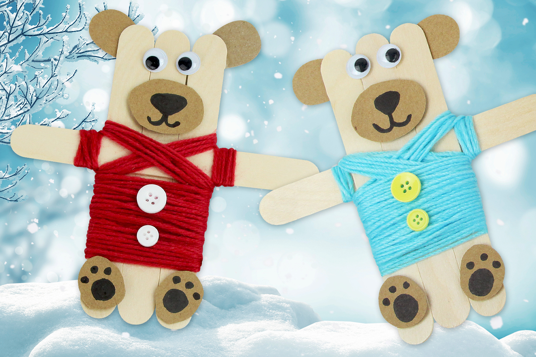 Magnets Oursons Avec Des Bâtonnets En Bois - Noël - 10 Doigts concernant Bricolage Avec Baton De Bois