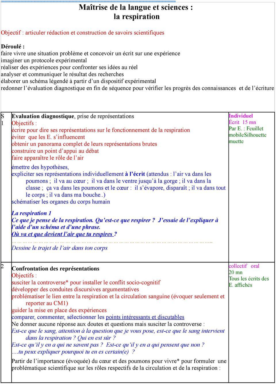 Maîtrise De La Langue Et Sciences : La Respiration - Pdf tout Leçon Respiration Cm1
