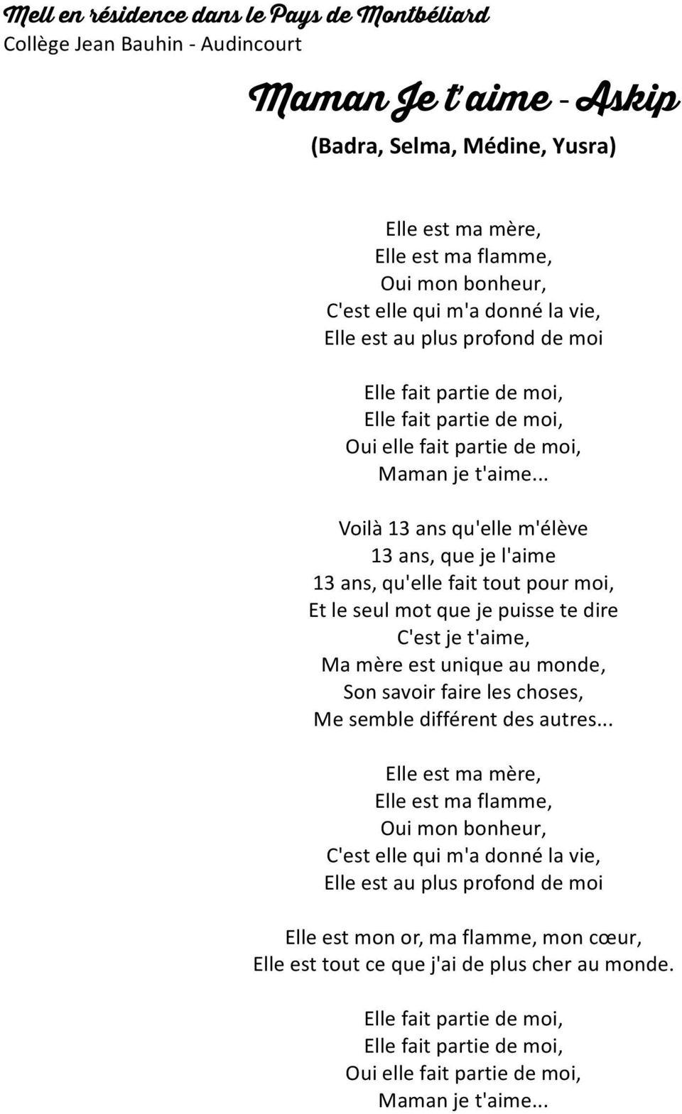 Maman Je T Aime - Askip - Pdf Free Download intérieur Texte Maman Je T Aime