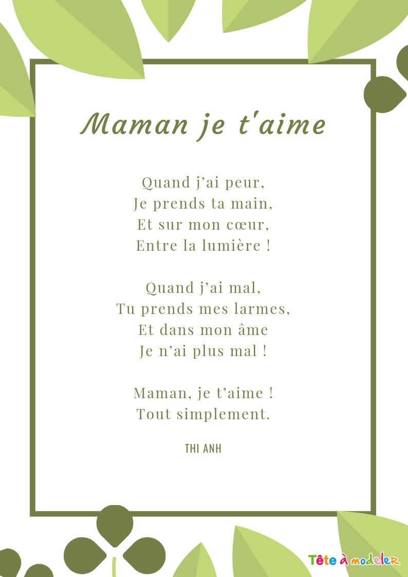 Maman Je T'aime – Un Poème Pour Maman Avec Tête À Modeler En pour Texte Maman Je T Aime