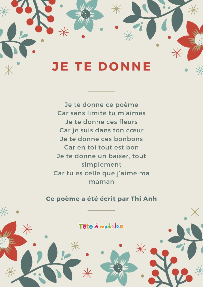 Maman Je Te Donne – Un Poème Pour Maman Avec Tête À Modeler dedans Poeme Les Fleurs