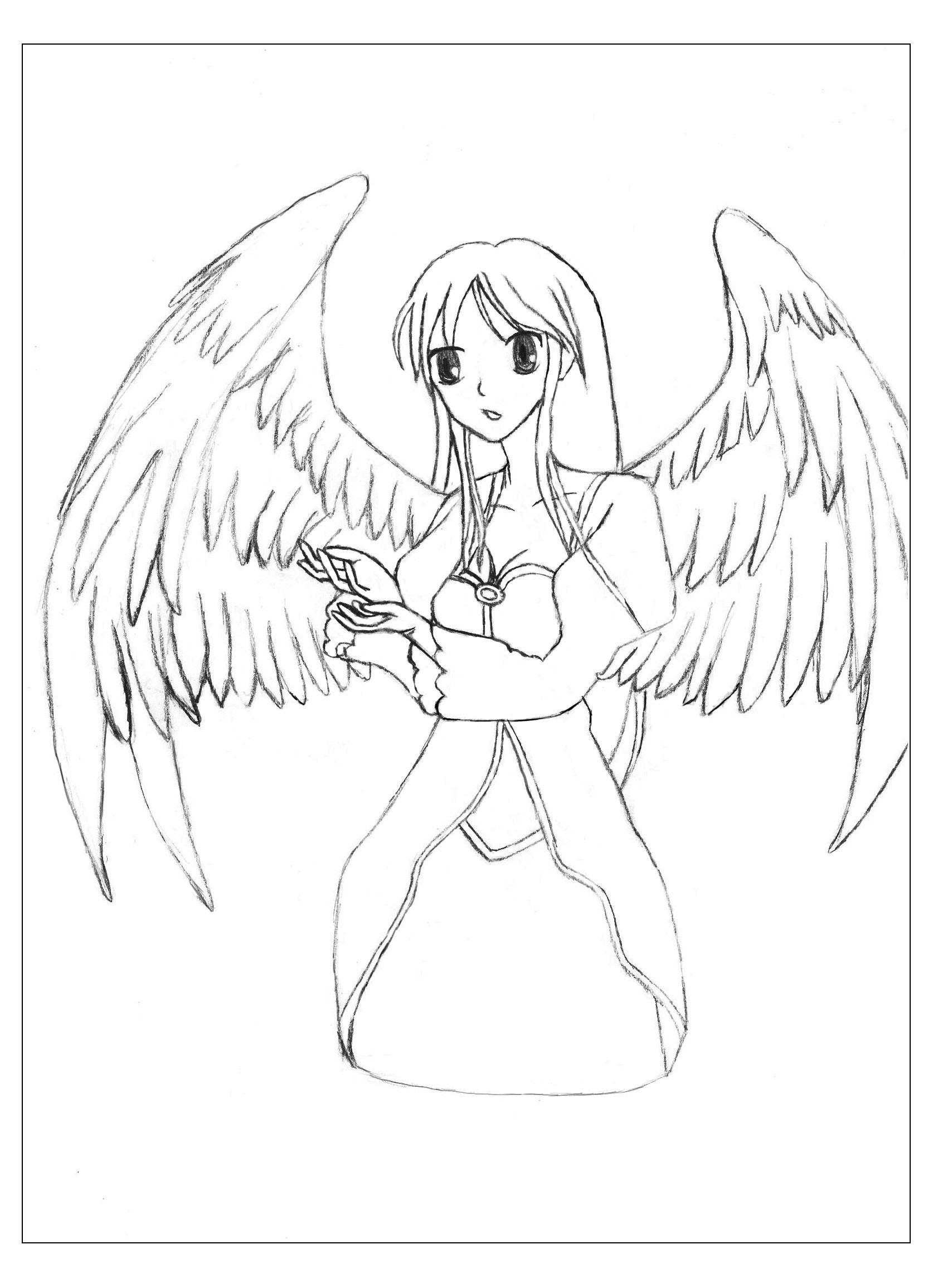 Manga Ange - Mangas / Animés - Coloriages Difficiles Pour à Coloriage Manga Kawaii